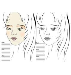Portrait of girl makeup sketch template vector