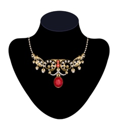 Gold necklace vector