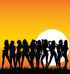 Sexy and beauty girls and sunset vector