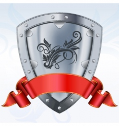 Shield with ribbon vector