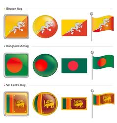 Bangladesh and sri lanka bhutan flag icon vector