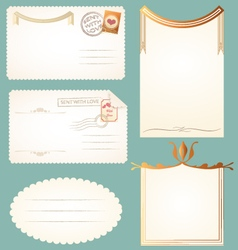 Vintage postcards cards notes backgrounds frames vector