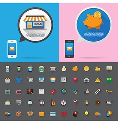 Smartphone alert and flat icons collection set 1 vector
