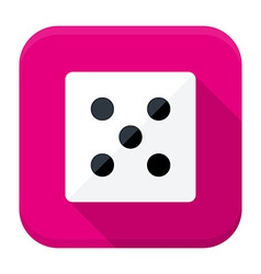 Game dice flat app icon with long shadow vector