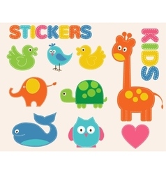 Colorful animals set stickers for kids vector
