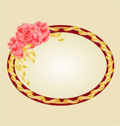 Oval frame with pink hibiscus greeting card vector