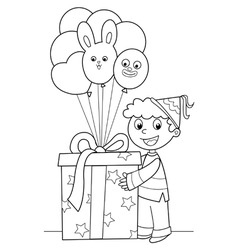 Boy with big gift and balloons vector