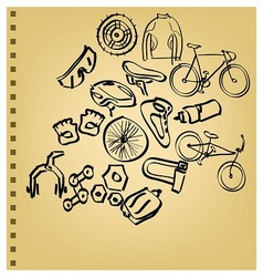 Doodle bicycle icon set vector