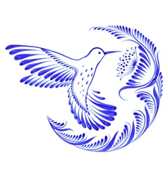 Floral decorative ornament hummingbird in flight vector