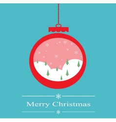 Christmas decoration ball with snowing forest vector