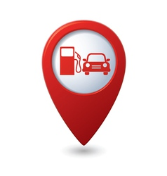 Petrol station and car red pointer vector