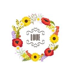 Floral frame  circular ornament flowers vector