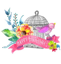 Watercolor flowers and bird cage vector