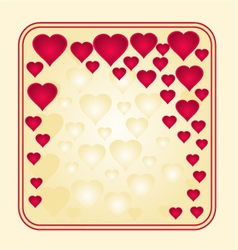 Frame with gold and red hearts greeting card vector