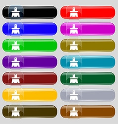 Paint brush artist icon sign set from fourteen vector
