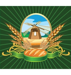 Bread wheat label vector