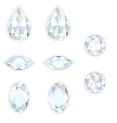Diamond set isolated objects vector