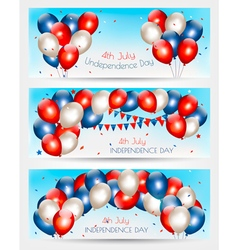 Three independence day banners vector