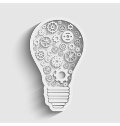 Light paper bulb with gears vector