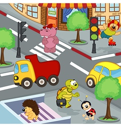 Animals at crossroads vector