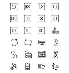 Media and advertisement line icons 2 vector