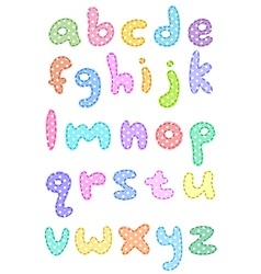 Polka dot lower case alphabet with stitches vector