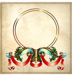 Baroque frame on old paper background eps10 vector