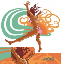 Girl jump into the water vector