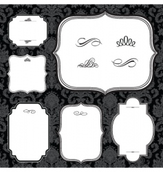 Frames and black pattern vector