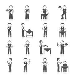 Waiter man icon black vector