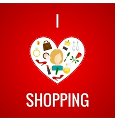 Woman shopping heart icon flat vector