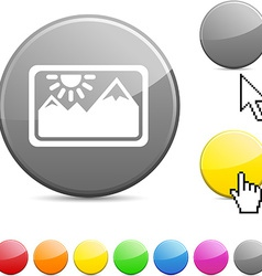 Picture glossy button vector