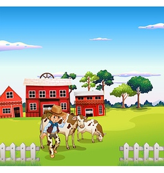 A cowboy with a cow inside the fence vector