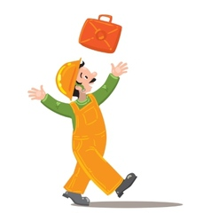 Happy worker in jumpsuit throws up a suitcase vector