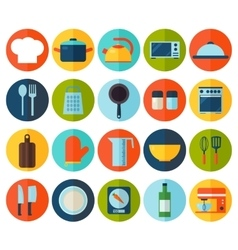 Flat kitchen and cooking icons vector