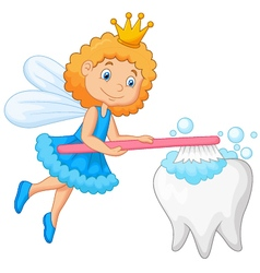 Tooth fairy brushing tooth vector