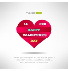 Red heart cut icon with valentines text and date vector