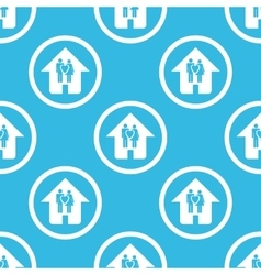 Family house sign blue pattern vector