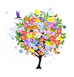 Flower abstract tree with birds vector