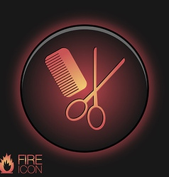 Comb and scissors barbershop symbol of hair and vector