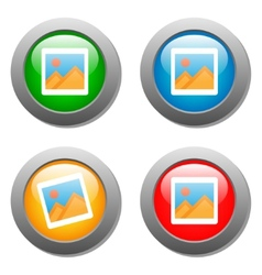Photo icon on set of glass buttons vector