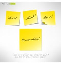 Yellow note sticker with message paper reminder vector