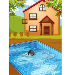 A kid swimming at the pool in the backyard vector
