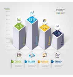 3d business infographics options template vector