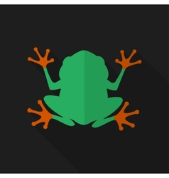 Flat frog with long shadow icon vector