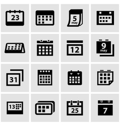 Black calendar icon set vector