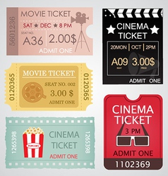 Cinema tickets set vector