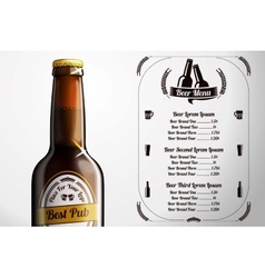 Menu template for alcohol with realistic brown vector