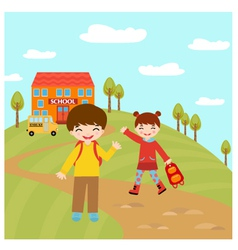 Kids going to school vector