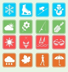 Season weather and activity icon vector